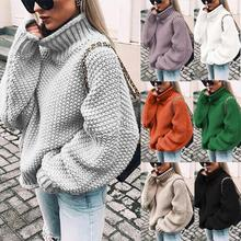 Women Turtleneck Pullover Sweater 2019 Winter Warm Knitted sweater oversize for Woman Outwear Casual Solid Long Sleeve Plus Size