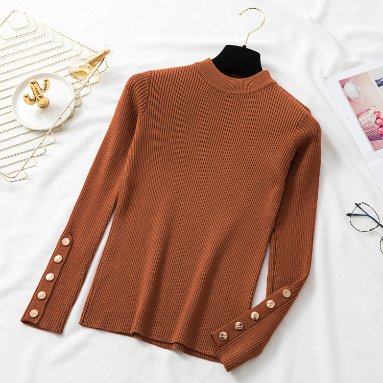 Autumn Women Long Sleeve Pure Slim Sweater Winter Knitted Turtleneck Casual Cashmere Pullover Metal Buttons Split Cuff Basic Top 14