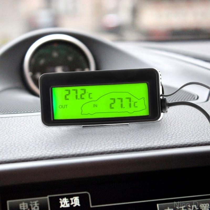 Mini Digital Car LCD Display Indoor Outdoor Thermometer 12V Vehicles 1.5m Cable Sensor M22 20 Dropship