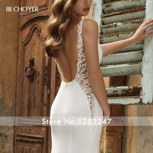 Image 4 - Vestido de Noiva Sexy zroszony satynowa suknia ślubna dekolt bez rękawów Backless syrenka BECHOYER V152 dostosowana suknia ślubna