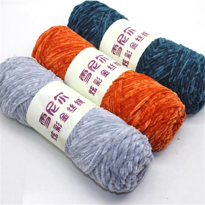 15pcs Silk Cotton Blended Yarn for Hand Knitting Soft Sweater Scarf Chenille Yarn Crochet 3.5mm Newest 1ply-in Yarn from Home & Garden    1
