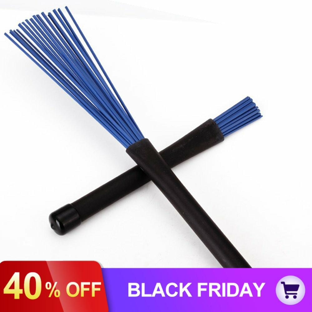 2pcs! Blue Nylon Retractable Jazz Drum Brushes Sticks With Black Rubber Handles Musical Instrument Parts & Accessories