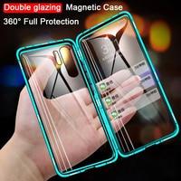 Funda magnética de Metal para teléfono Huawei, carcasa de vidrio de doble cara para Huawei P30 P20 P40 Lite E Honor 8X 9X 20 10 Lite Y9 Prime P Smart Z 2019