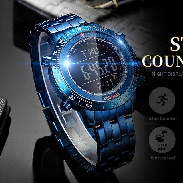 KADEMAN 패션 스텝 남자 시계 밀리터리 스포츠 시계 럭셔리 톱 브랜드 크로노 그래프 손목 시계 캐주얼 남성 야외 시계 Relogio