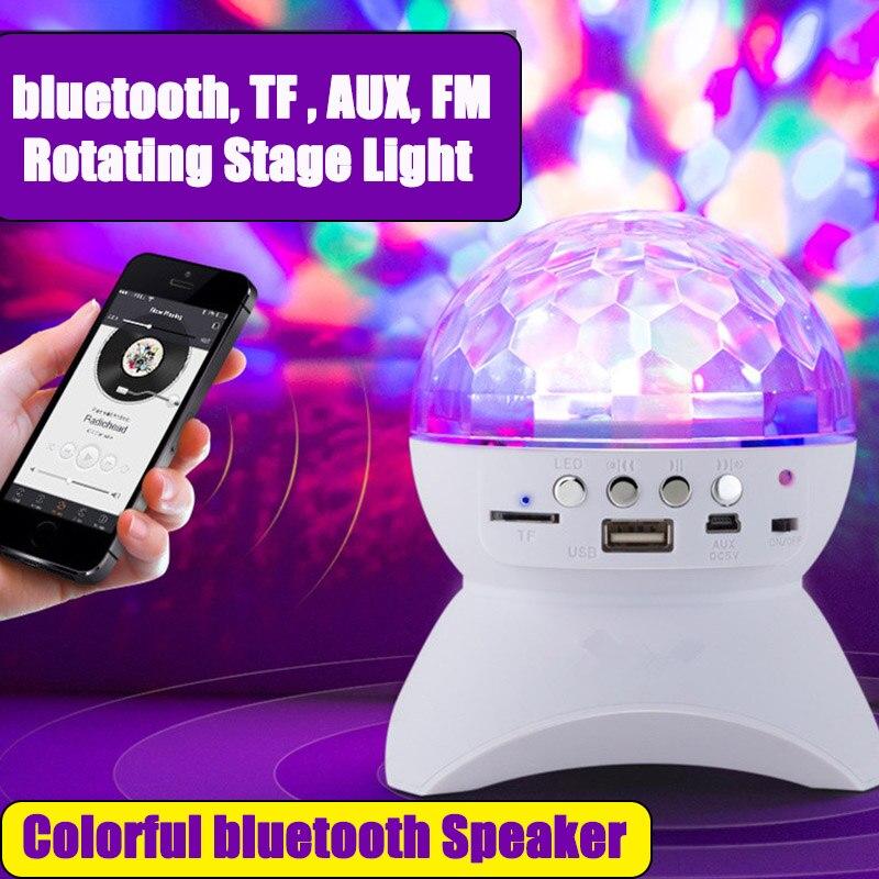 Sem fio bluetooth alto-falante luz de palco rgb led efeito bola de cristal luz dj clube discoteca festa iluminação recarregável usb/tf/fm