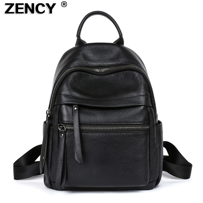 ZENCY Soft 100% Genuine Cow Leather Black Hardware Women's Backpacks Lady Girl First Layer Cowhide Female School Book Backpack