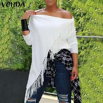 Spring Autumn Shirts Tunic Women Sexy off Shoulder Blouse 2020 VONDA Casual Loose Tassel Tops Holiday Plus Size Blusa S-5XL