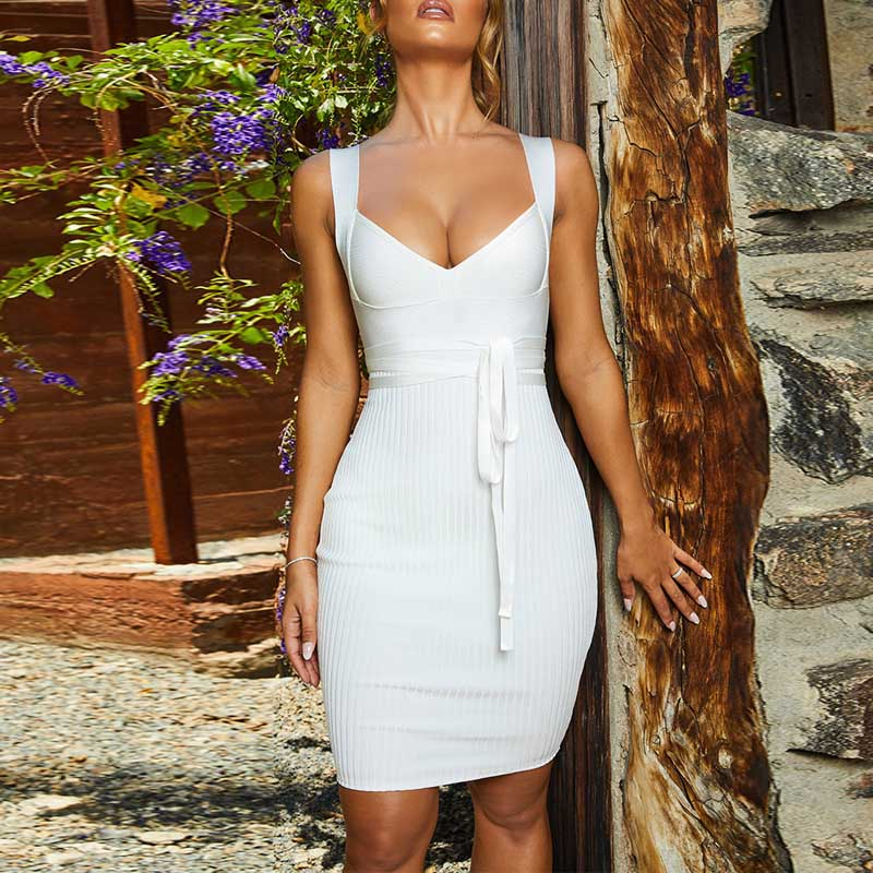 wholesale 2019 Newest Women dress V neck Spaghetti Strap Sexy Night club Celebrity Cocktail party bandage dress in Dresses from Women 39 s Clothing