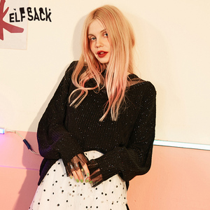 Image 2 - ELFSACK מתוק תחרה טלאי נשים סוודרים, 2019 סתיו אופנה טלאי נצנצים Femme סרוג חולצות קוריאה מזדמן בגדים