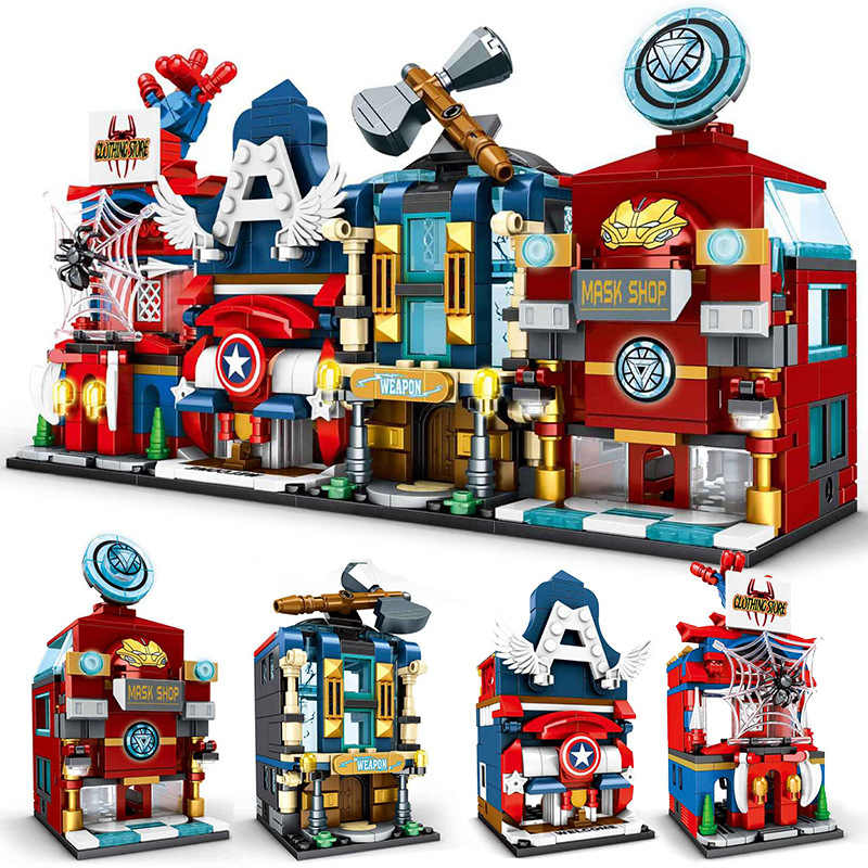 4 teile/sätze Super Hero Shop Shop Straße Tron ironMan Spiderman Captain America marvel Bausteine Sets Ziegel Kinder Kits Film