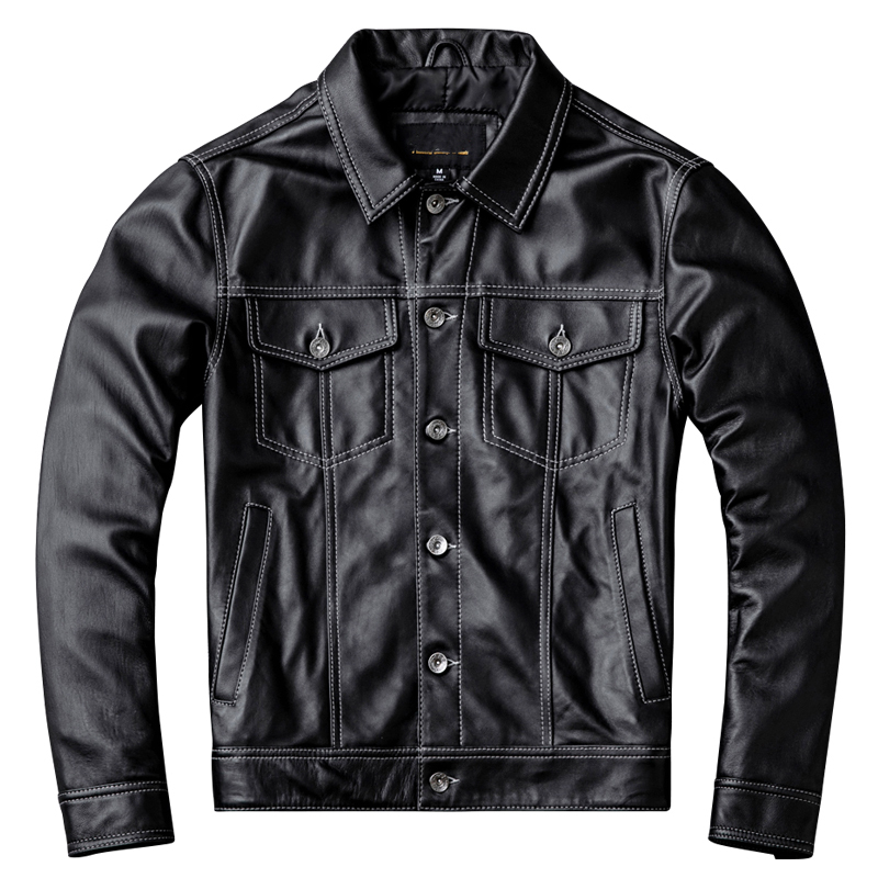 Free Shipping,2019 New Handsome Leather Jacket.fashion Young Man Genuine Leather Coat.quality Sheepskin Jackets.short Slim