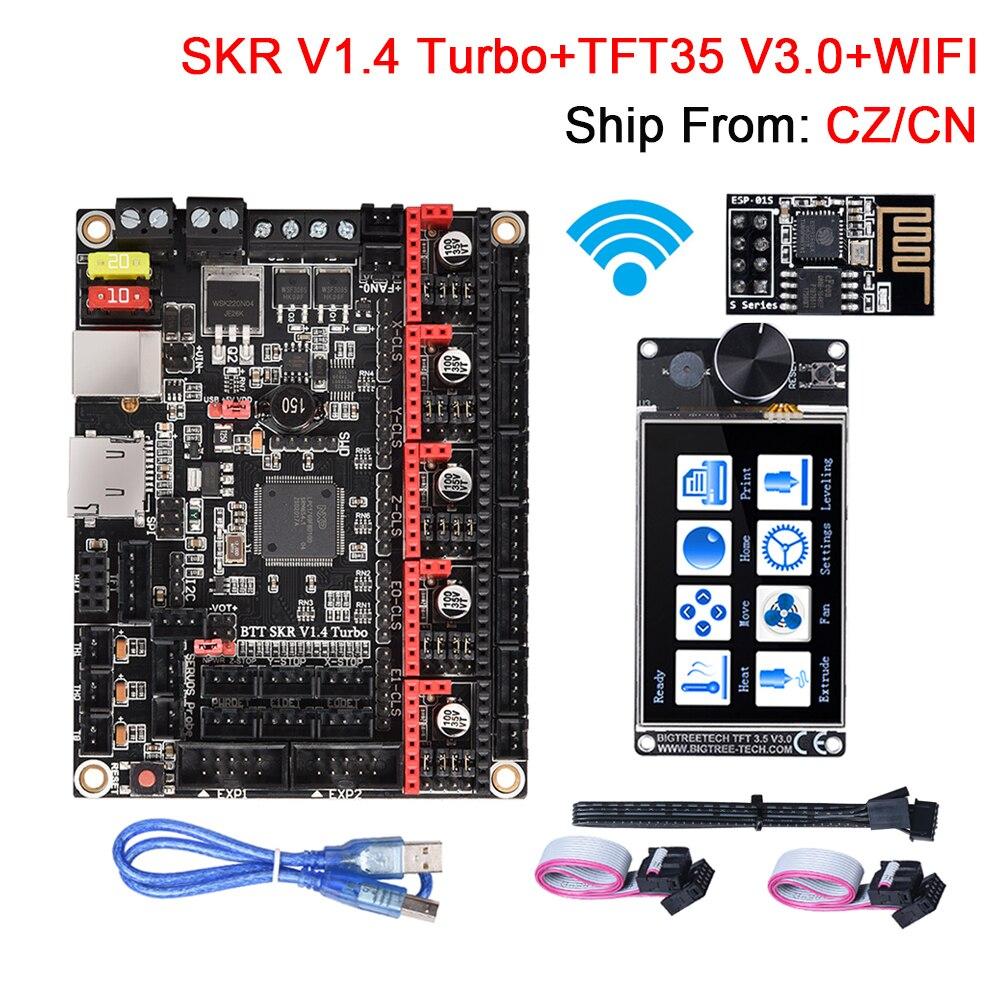 BIGTREETECH SKR V1.4 плата управления турбонаддувом + TFT35 V3.0 сенсорный экран + WIFI модуль части 3D-принтера TMC2209 для Ender 3 Upgrade CR10