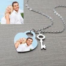 Персонализированные ожерелье с фото гравированное Сердце для