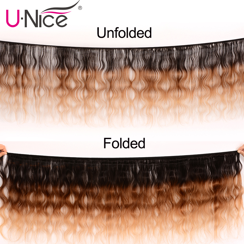 UNICE HAIR Peruvian Body Wave Ombre Hair Extensions Color T1b/4/27 Human Hair 3 Bundles Three Tone Remy Hair Weaves 16-26inch
