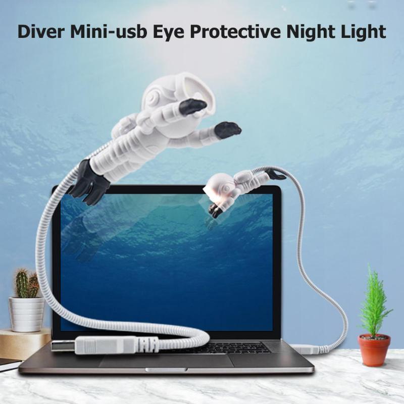 Mini Diver Shaped LED Night Lamp 360 Degree Universal Torsion Hose USB Powered 5V Eye Protection Button Type Lighting