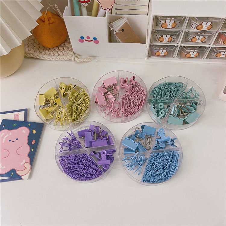 SIXONE Ins Cute Colour Paper Clips Long Tail Clamps Combination Student File Data Bill Shool Office Binding Supplies Stationery