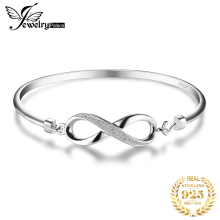 JewelryPalace Forever Love Infinity Cubic Zirconia Anniversary Bangle Bracelet Pure 925 Sterling Silver Jewelry Wedding Bracelet popular good quality gift silver jewelry bangle pink love heart famous crystals 925 pure silver bangle