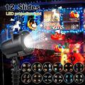 Светодиодный проектор с рисунком в виде рождественского аниме IP65 лазерный проектор для Хэллоуина и нового года с 12 переключаемыми слайдами...
