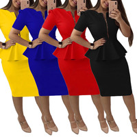 Professional women's Work dresses Zipper Ruffled Solid Color Short Sleeve Tight Dress Party Sexy Elegant Dresses droshipping