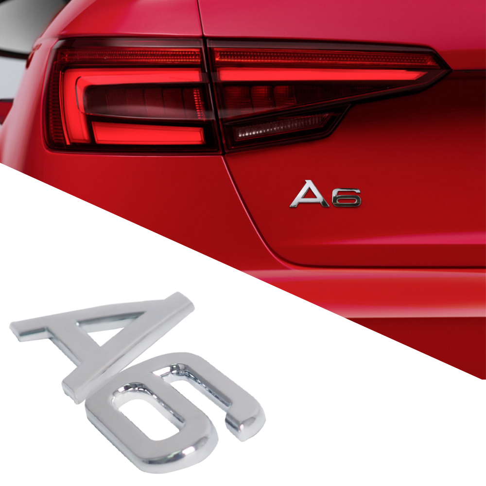 Auto Tuning Accessoies <font><b>Chrome</b></font> A6 Letters Sticker Car Rear Trunk Sticker For <font><b>Audi</b></font> A6 C6 A6L A3 A4 B8 <font><b>A8</b></font> A7 Q5 Q7 A6 Logo Sticker image