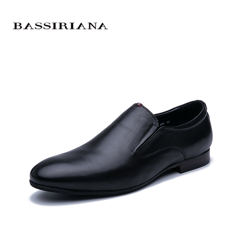 Bassiriana 2020 New Spring Men's Leather Shoes, Black Leather Size 39-45, Free Shipping