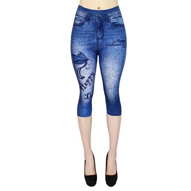 3/4 Leggings Women Breeches Elastic Slim Jeans Leggings High Waist Capri Pants Jeggings Female Short Leggings 3