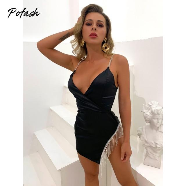 Pofash Black V Neck Mini Dress Women Backless Sexy Backless Diamond Tassel Party Club Dress Spaghetti Strap Bodycon Dresses 2021 5