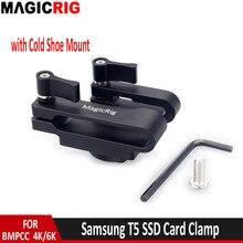 MAGICRIG הר עבור Samsung T5 SSD כרטיס מהדק עבור BMPCC 4K & 6K מצלמה עם USB C כבל מהדק וקר נעל הר