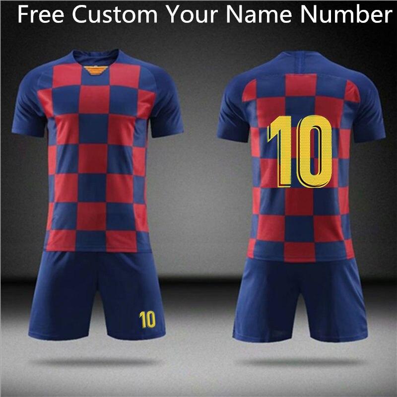 21/20/19 Football Jerseys Boys Girls Soccer Clothes Sets Men Child Futbol Barcelona Training Uniforms Kids Soccer Training Set