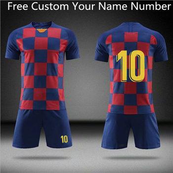 21 20 19 koszulki piłkarskie chłopcy dziewczęta strój do gry w piłkę nożną zestawy mężczyźni dziecko Futbol Barcelona stroje treningowe dla dzieci trening piłkarski zestaw tanie i dobre opinie cnofne Poliester Pasuje prawda na wymiar weź swój normalny rozmiar