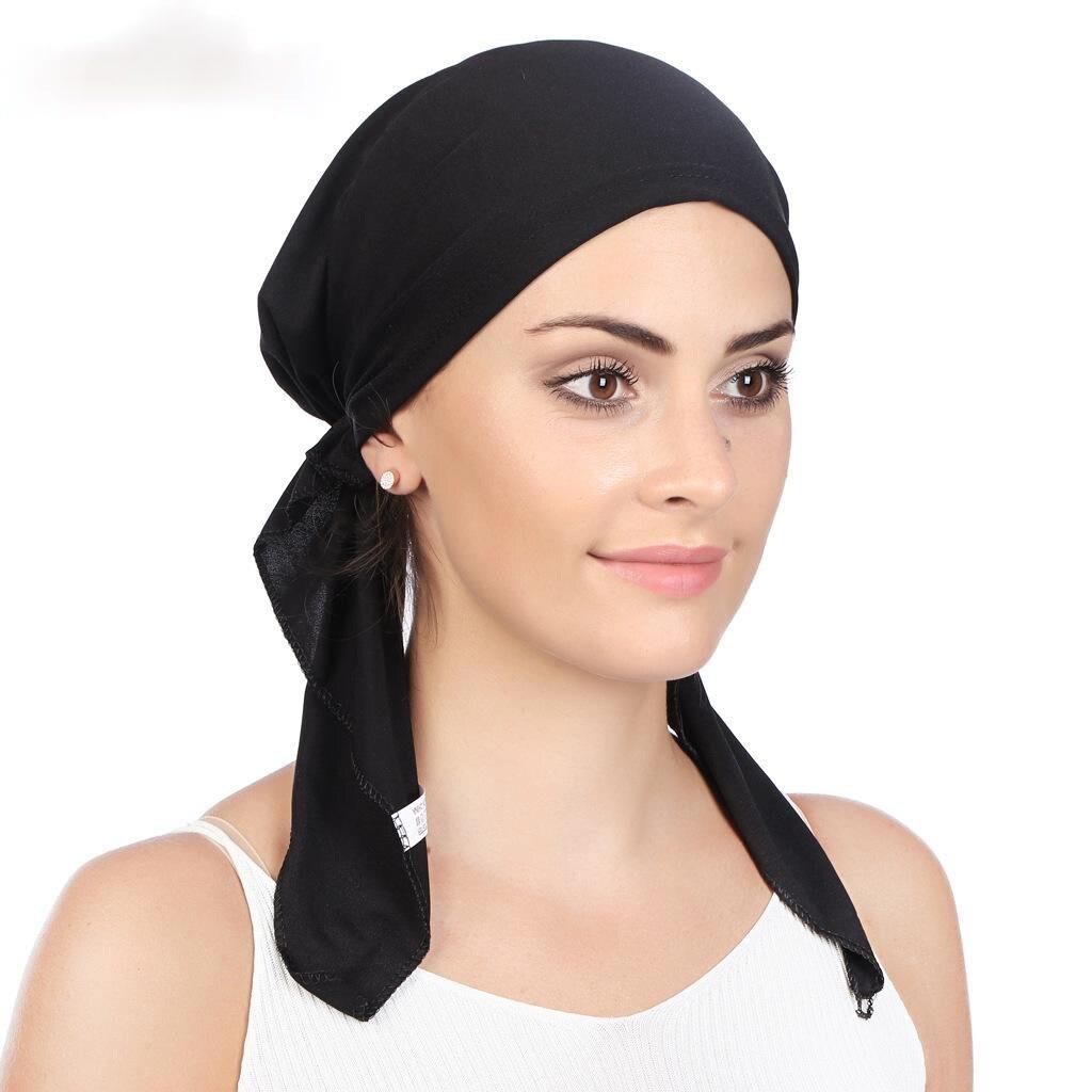 Muslim Pre-Tied Scarf Chemo Beanies Bonnet Caps Women Turban Hat Headwear Headscarf Wrap Cancer Bandanas Hair Accessories