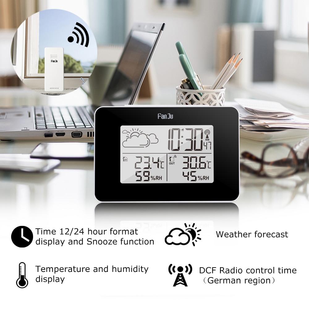 Digital Alarm Clock Weather Station Wireless Sensor Hygrometer Thermometer Electronic LCD Time Desktop Table Clocks New