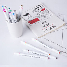 24/36/48 Colors Dual Head Water Based Tip Fine Brush Artist Graphic Sketch Manga Drawing School Stationery Supplies Marker Pen water based ink twin tip sketch marker pen brushand fine tip art graphic drawing manga brush pen dual tip art marker for drawing