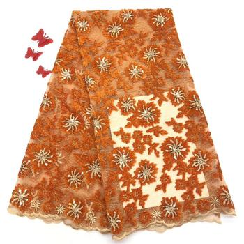 NaXiu Orange Velvet Lace Fabrics with Sequins Nigerian Tulle Mesh Lace for Wedding Party Dresses Sequence Fabrics Lace