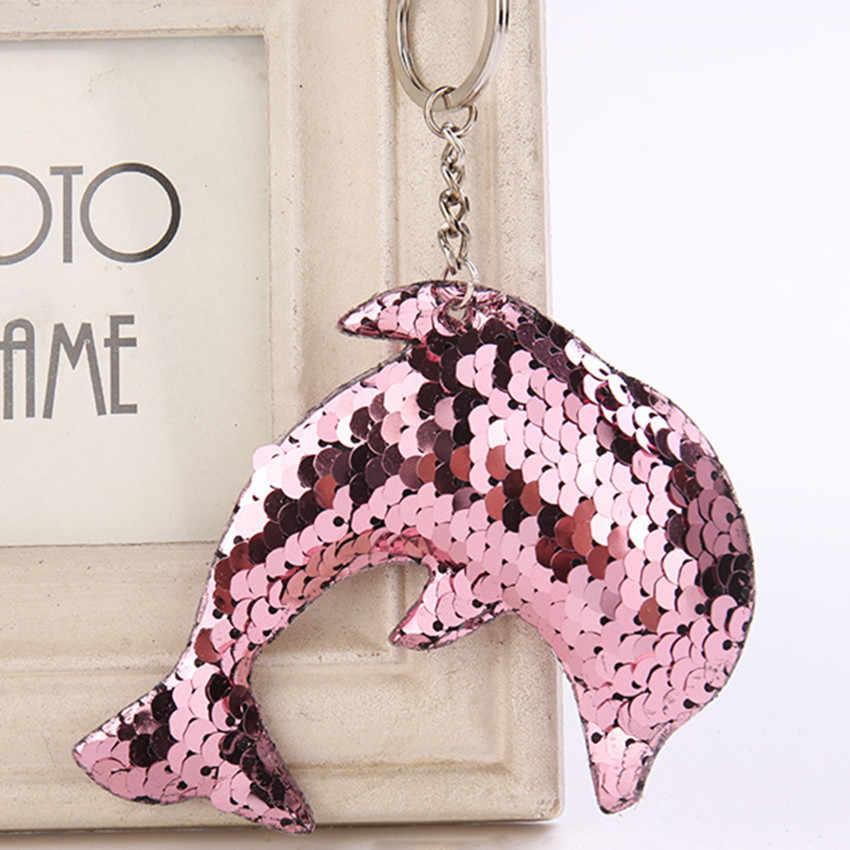 Adorável glitter lantejoulas golfinho chaveiro meninas favor urso pingente festa de aniversário presente natal crianças brinquedo saco ornamentos decoração do carro