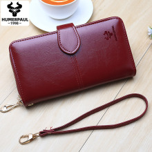 New Women Oil Wax Leather Wallet Female Purses Long Multi-fu