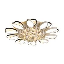 New Design Crystal Modern Led petal Ceiling chandelier For Living Room Bedroom lamp plafond avize Indoor led chandelier dimmable недорого