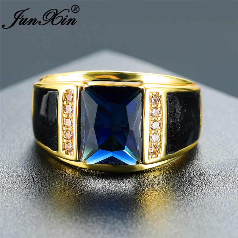 Luxury Male Geometric Blue Stone Wedding Rings For Men Women Yellow Gold Ring Vintage Engagement Ring Zircon Mens Party Jewelry
