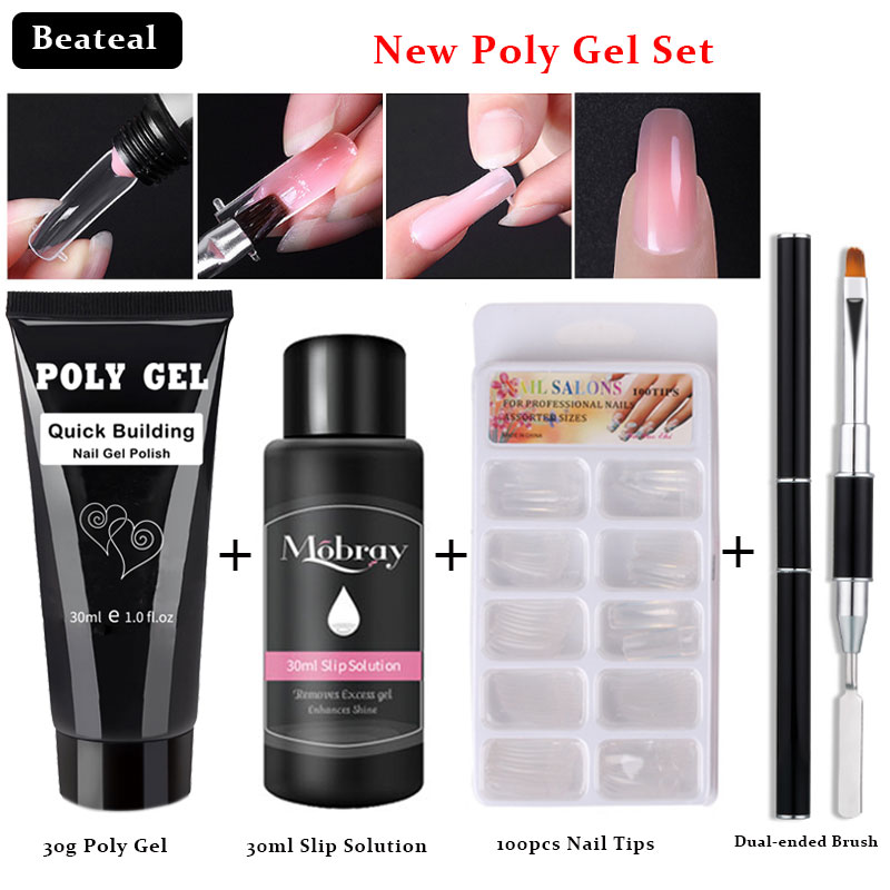 30g Poly Gel Kits French Nail Art Clear Camouflage Color Nail Tip Form Crystal UV Gel Polygel Slice Double Way Brush Nail Gel