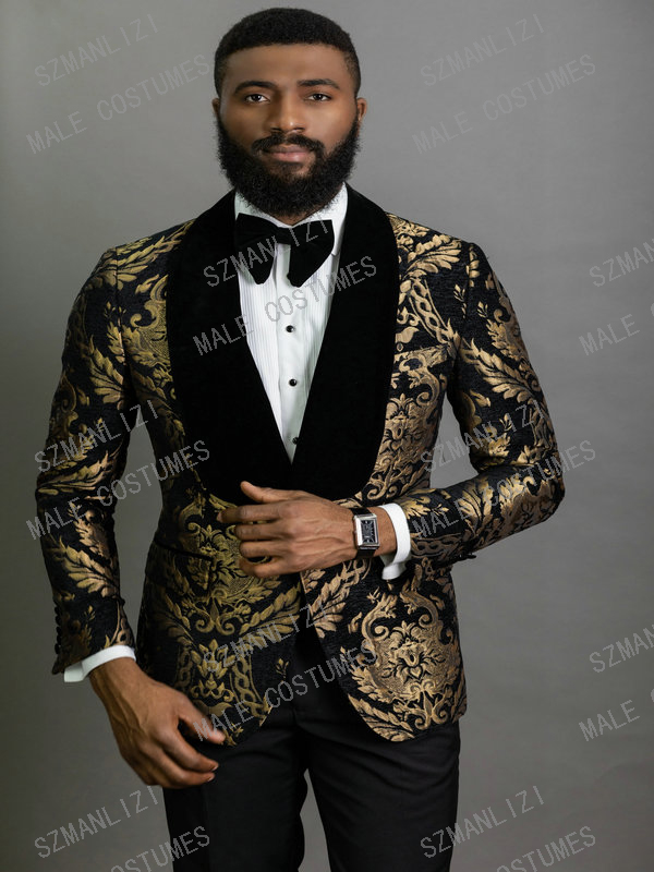 2020 Elegant Fashion Black Gold Floral Men Suits 2 Piece Groom Suit Smoking Tuxedo Jacket Wedding Suits For Men Best Man Blazer