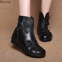 2019 winter new national style retro women's boots comfortable leather flower boots women