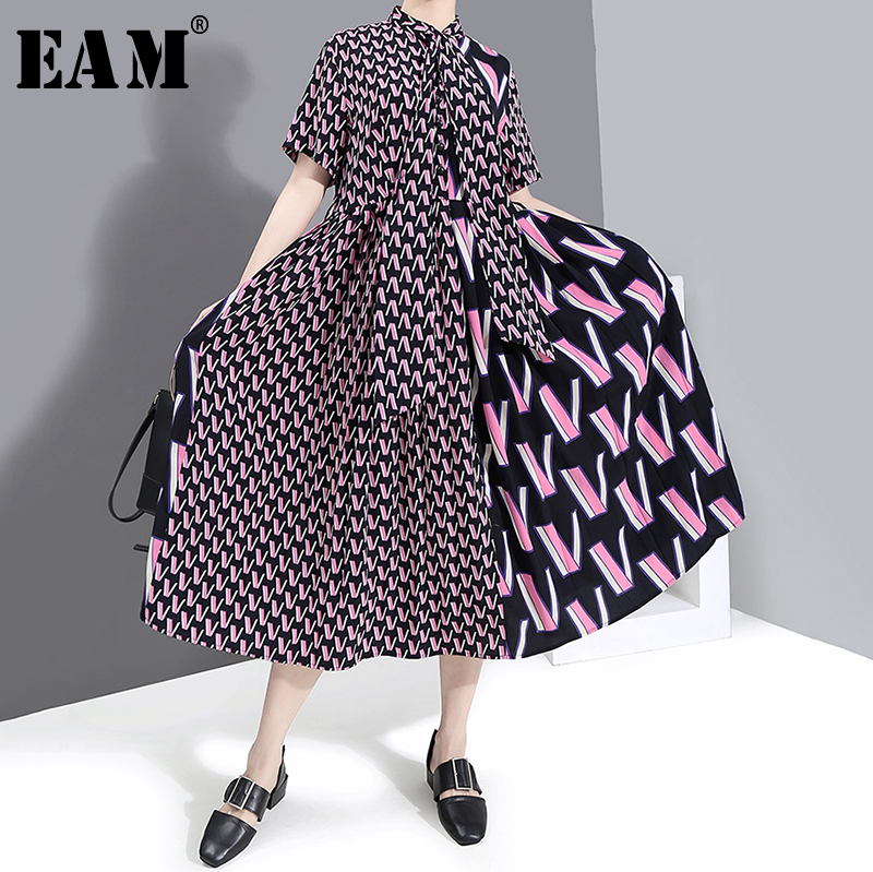 [EAM] Women Pattern Printed Temperament Dress New Stand Collar Short Sleeve Loose Fit Fashion Tide Spring Summer 2020 1S536