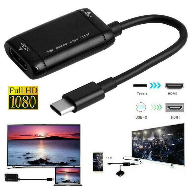 Type-C HDMI Converter Cable USB3.1 MHL Adapter For Android Phone Tablets @JH