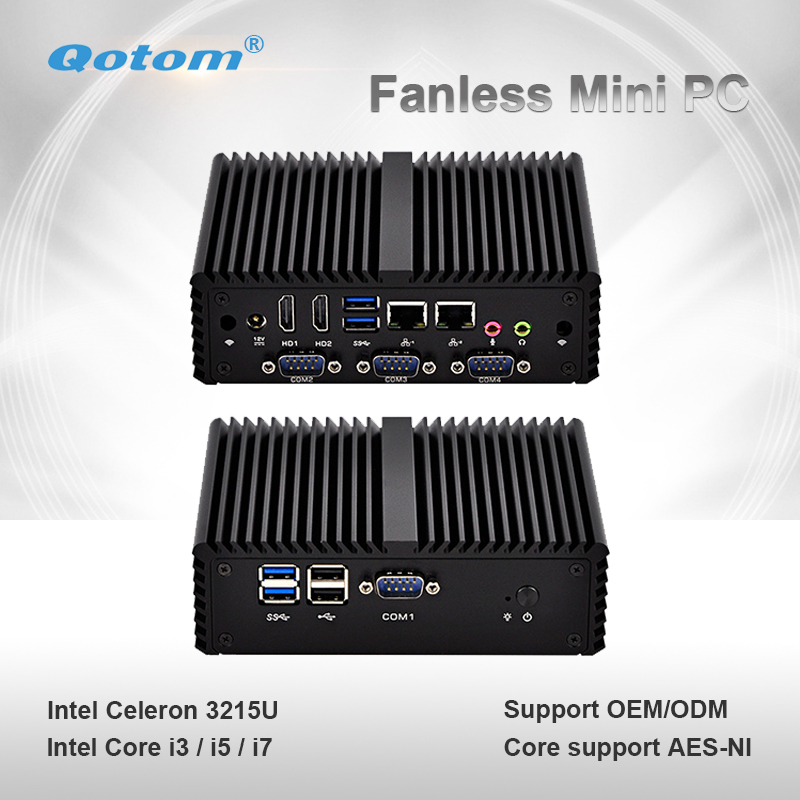 Qotom Mini PC Q400P Small Fanless 2 Gigabit LAN Celeron Core I3 I5 I7 Dual Core Computer Support Win Linux Mini Server