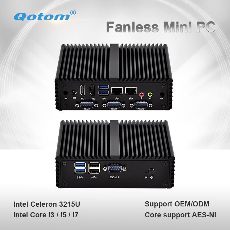Qotom Mini PC Q400P Small Fanless 2 Gigabit LAN Celeron Core I3 I5 I7 Dual Core Computer Support Win Linux Mini Server