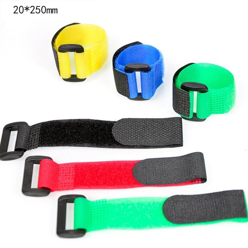 5pcs 2x25cm Adhesive Tape Hook And Loop Wire Binding Belt Strong Nylon Fastener Belt