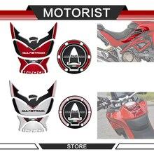 Yeni motosiklet 3D yağ tankı Pad flanşlar yakıt kapağı koruyucu çıkartmalar çıkartmaları Ducati Multistrada 1200/1260 için 2015 2020