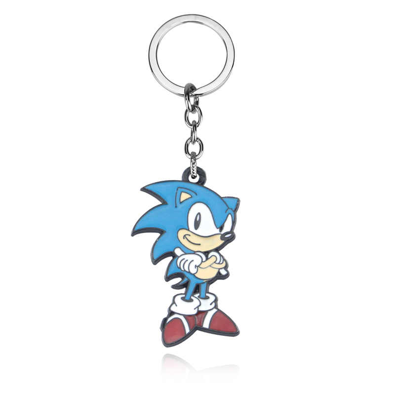 Hot Spiel Sonic The Hedgehog charme keychain Blau Metall Anhänger Cosplay Sammlung Zubehör Schlüsselanhänger für geschenk Dropping