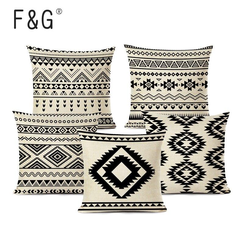 Retro High Quality Ethnic Geometry Cushion Cover Throw Pillow Cutton Linen Car Sofa Bed Home Decor Textile Printed Pillowcase