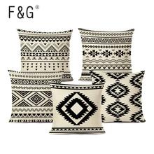 Funda de cojín geométrica étnica Retro de alta calidad, cojín de algodón de lino para coche, sofá, decoración de cama para hogar, funda de almohada estampada textil